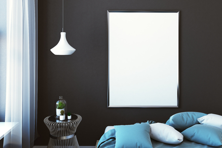 Close up of empty banner in dark male bedroom. Advertising concept. Mock up, 3D Rendering Imagens
