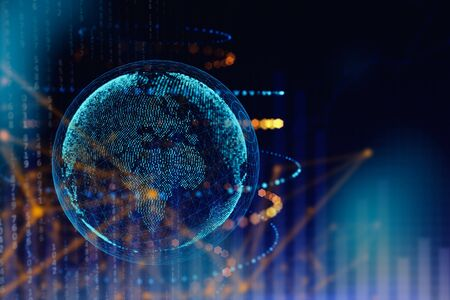 Abstract polygonal globe on blue background. Global business concept. 3D Rendering