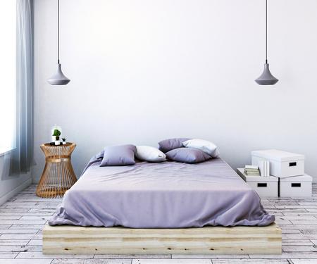Vista frontal de la moderna habitación femenina luz con pared vacía, muebles y ventana con cortina. Mock up, renderizado 3D