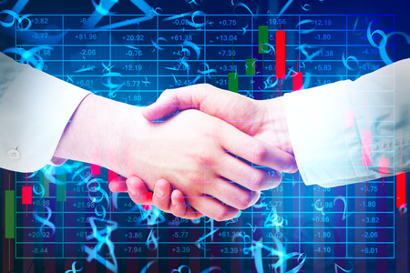 Handshake on abstract blue background with forex index and digital numbers. Trade and programming concept