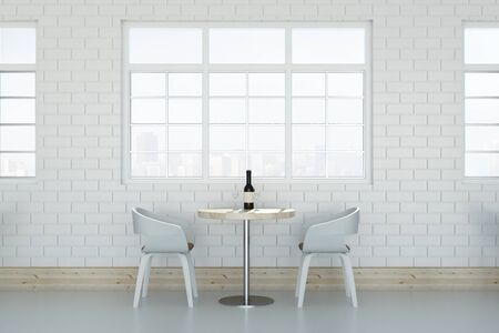 Side view of white loft cafe interior with wine bottle on table, chairs and window with city view. 3D Rendering  Stock Photo