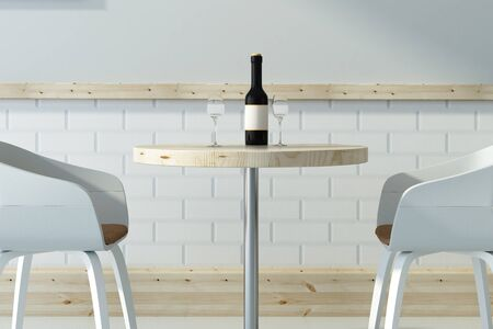 Side view and close up of wine glasses on small light cafe table with chairs. Restaurant, beverage, bar concept. 3D Rendering