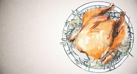 Creatieve gebakken kippenschets op licht behang. Kerstdiner, eten en kunst concept