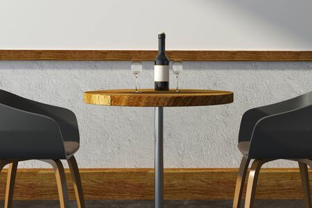 Side view and close up of wine glasses on small wooden cafe table with chairs. Restaurant, beverage, bar concept. 3D Rendering