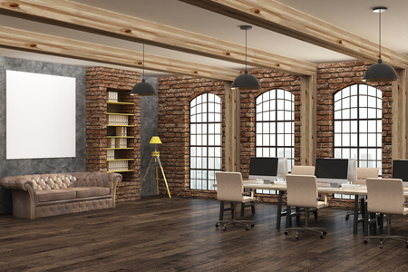 Loft coworking office interior with empty banner on wall. Mock up, 3D Rendering
