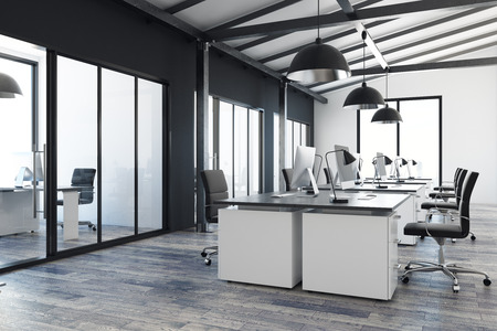 Modern coworking office interior with city view. Design and style concept. 3D Rendering