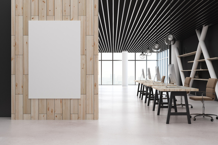 Coworking office interior with empty poster on wooden wall. Mock up, 3D Rendering