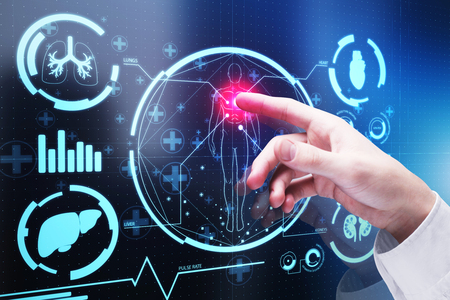 ぼやけた都市の背景に抽象的なデジタル医療インターフェイスを指す手。技術と医学の概念。3D レンダリング 写真素材