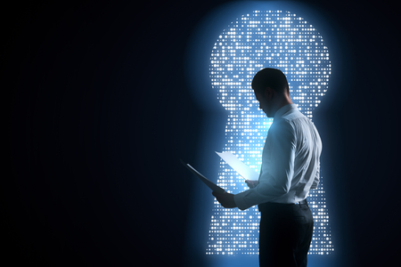 Side view of young businessman looking at document on abstract black background with diigtal keyhole opening. Work and access concept. 3D Rendering  Stockfoto