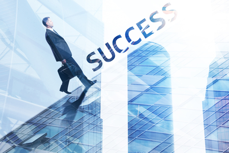 Success and executive concept. Businessman walking on abstract city background with copy space and text. Toned image. Double exposure