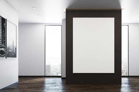 Moderner innenraum mit leerem hölzernem schrank stadtansicht und