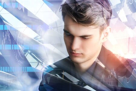 Portrait Of Attractive Young Businessman On Abstract Blurry Office Background With Arrows Career And Employment
