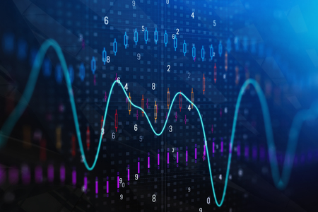 Creative forex chart backdrop. Investment and trade concept. Double exposure Stock fotó