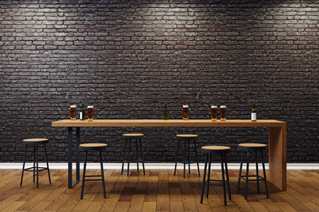 Creative black brick pub or bar interior with copy space on wall. Mock up, 3D Rendering  Banque d'images