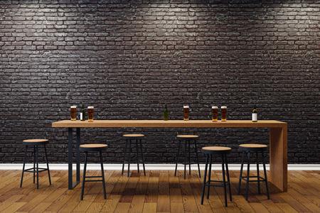 Creative black brick pub or bar interior with copy space on wall. Mock up, 3D Rendering  Archivio Fotografico