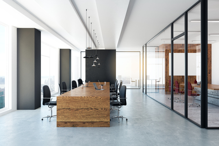 Modern conference room with city view and equipment. 3D Rendering