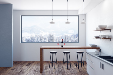 Modern kitchen interior with equipment, furniture and view. Style and design concept. 3D Rendering