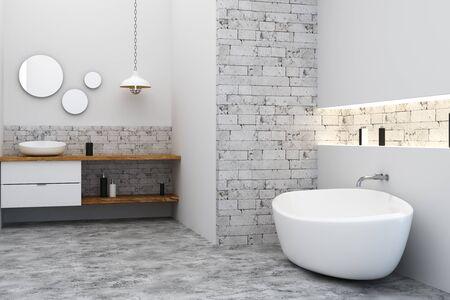깨끗한 로프트 욕실 인테리어. 측면보기. 3D 렌더링