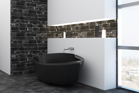 Side view of bathtub in contemporary interior with city view. Design concept. 3D Rendering