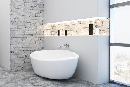 Side view of bathtub in clean brick interior with city view. Design concept. 3D Rendering  Stock Photo