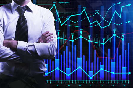 Businessman with folded arms on abstract forex background. Finance and investment concept