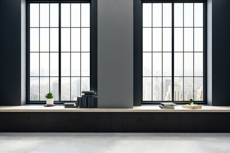 Modern empty black concrete interior with city view, books on windowsill and daylight. 3D Rendering