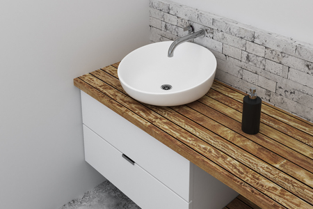 Close up of sink in clean bathroom interior with copy space on concrete wall. Design and style concept. 3D Rendering  Stock Photo