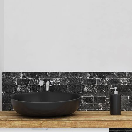 Close up of sink in modern bathroom interior with copy space on concrete wall. Design and style concept. 3D Rendering