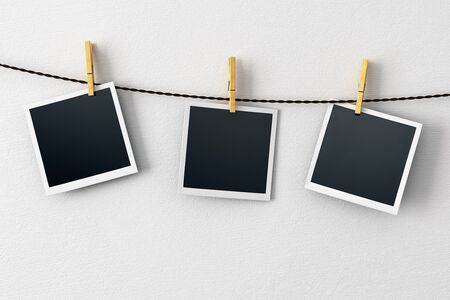 Blank Pictures Hanging On Concrete Wall Background. Photography ...