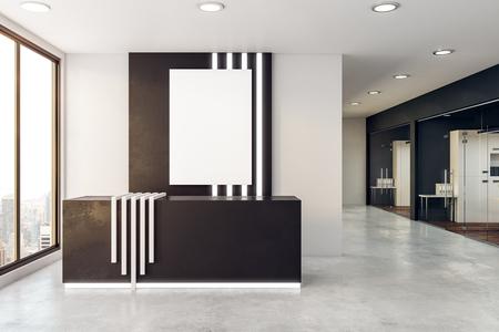 Vista lateral del mostrador de recepción moderno en el interior de la oficina con cartelera vacía. Maqueta, renderizado 3D Foto de archivo