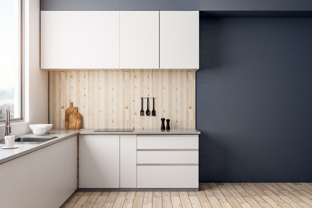 Modern kitchen room interior with copy space on wall and daylight. Mock up, 3D Rendering