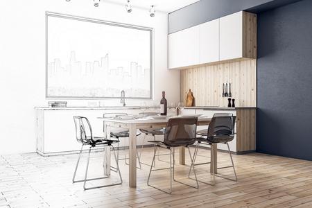 Creative modern kitchen interior sketch. Design and architecture concept. 3D Renddering