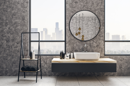 Concrete bathroom interior with city view and daylight. Loft design and style concept. 3D Rendering
