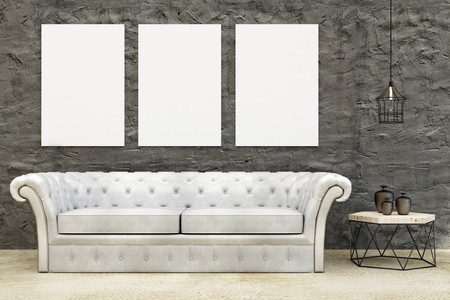 Modern living room interior with leather couch, small tablet with decorative items and empty poster on wall. Mock up, 3D Rendering
