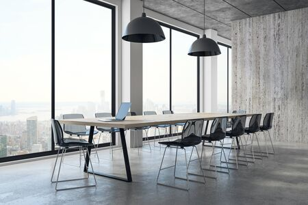 Modern meeting room interior with New York city view, equipment and daylight. 3D Rendering