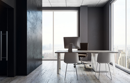 Stylish office interior with workplace and panoramic city view with daylight. 3D Rendering