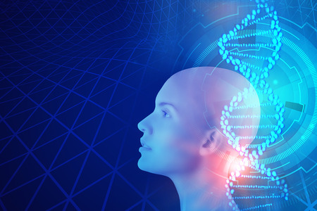 Abstract female cyborg on blue background with dna. Artificial intelligence and medicine concept. Double exposure