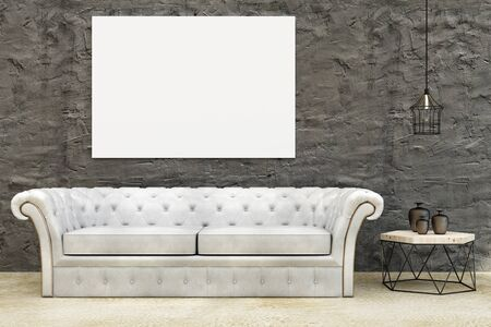 Modern living room interior with leather couch, small tablet with decorative items and empty banner on wall. Mock up, 3D Rendering