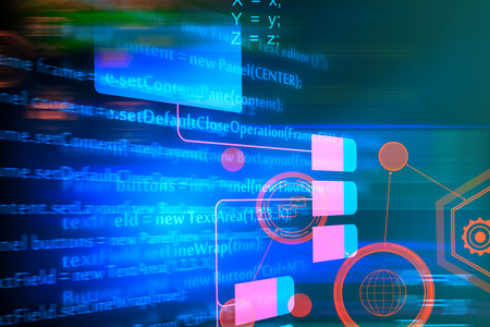 Abstract HTML background. Coding, programming and technology concept. Double exposure