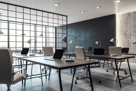 Contemporary coworking office interior with panoramic city view and daylight. 3D Rendering  Stock Photo