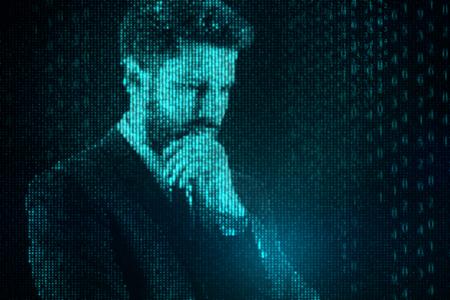 Homme d'affaires de code binaire réfléchi abstrait. Concept de cyberespace et de robotique. Rendu 3D