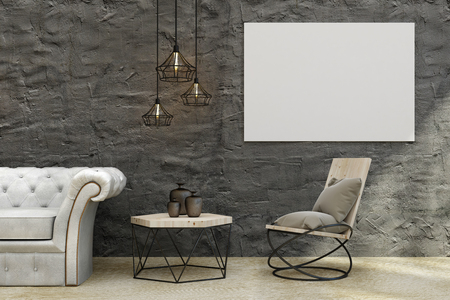 Modern concrete living room interior with leather sofa, coffee table, decorative ceiling lamps and empty banner on wall. Mock up, 3D Rendering  Stok Fotoğraf