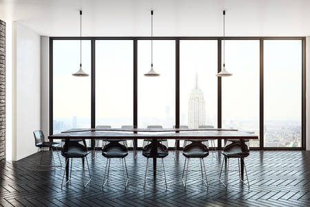 Bright meeting room interior with panoramic city view and daylight. Workplace and meeting concept. 3D Rendering