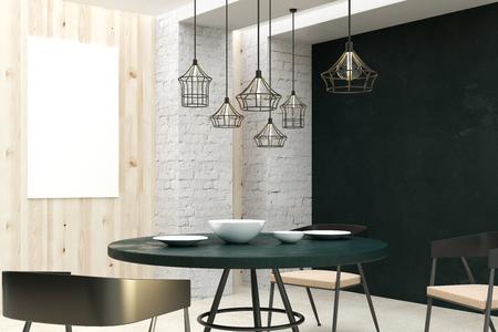 Interior de la sala de estar tipo loft con cartelera vacía, muebles de comedor y luz natural. Concepto de diseño y estilo. Maqueta, renderizado 3D Foto de archivo