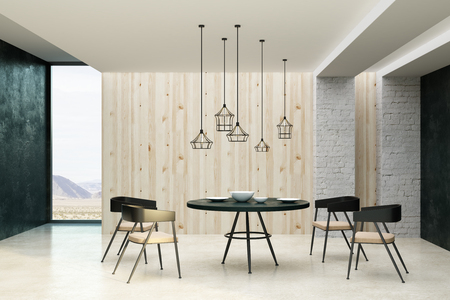Clean living room interior with decorative ceiling lamps, dining furniture, dishware and copy space on wall. Mock up, 3D Rendering