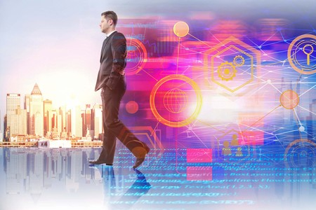 Businessman on creative city background with HTML code and business interface. Computing, future and finance concept. Double exposure  Stock Photo