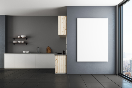 Modern luxury kitchen interior with empty banner on wall. Mock up, 3D Rendering  Stock Photo