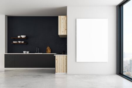 Modern luxury kitchen interior with empty poster on wall. Mock up, 3D Rendering