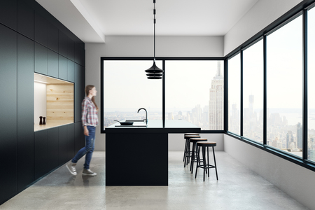 Blurry young woman walking in creative kitchen interior with panoramic city view. 3D Rendering  Reklamní fotografie