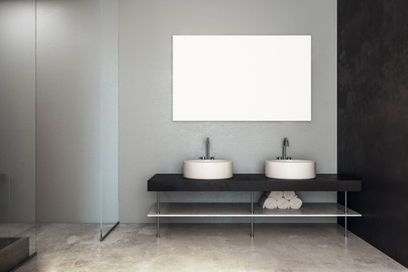 Front view of modern marble bathroom interior with sinks and clean banner on wall. Mock & Front View Of Modern Marble Bathroom Interior With Sinks And.. Stock ...